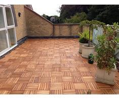 Terrazas azulejo de madera de acacia entrelazados Deck Azulejos Baldosas de patio balcón techo Jardín Madera de 30 cm x 30 cm x 2,5 cm), diseño cuadrado, Marrón, Null