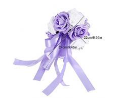 TOPINCN - Ramo de flores artificiales para boda, decoración de jardín, accesorios, Morado, 24*17cm / 9.4*6.7in