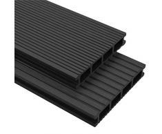 vidaXL WPC - Baldosa para terraza con accesorios (36 m², 2,2 m), color antracita
