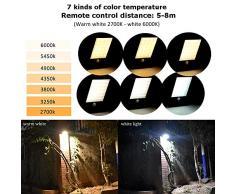 Lámpara solar de exterior Lámpara de pared 48 LED con control remoto - Proyector solar Lámpara de movimiento para jardín - Accesorio de iluminación para exteriores IP65 (7 colores ajustables, 3 modos)
