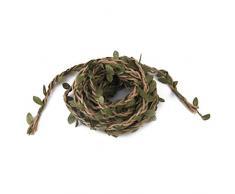 FENICAL - Guirnalda de 10 m hecha a mano de mimbre artificial hojas de vino, decoración, manualidades, follaje, hojas verdes, mimbre, decoración de árbol de Navidad