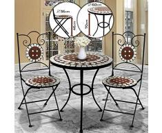 Nova Juego de jardín Mosaico – Mesa Redonda o Cuadrada + 2 sillas Plegables (Altura del Asiento 46 cm) – Muebles de Exterior, de balcón