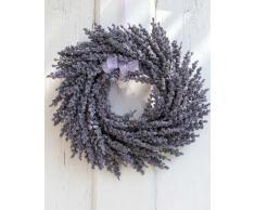 Corona de lavanda artificial en mimbre, violeta, Ø 25 cm - Corona sintética / Composición floral - artplants