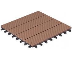 Baldosas de patio marca Gartenfreude 4600-1004-003 WPC conjunto de 6 aprox. 0,54 m2, 30 x 30 cm, perfil hueco, marrón