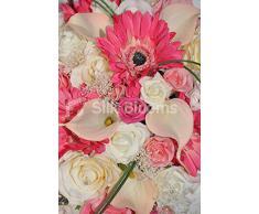 Hot Pink Gerbera & Peach Calas lágrima Ramo de novia