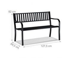 Relaxdays, Negro, Banco Jardín y Terraza de 2 Plazas Cómodo y Resistente a la Intemperie, Acero, 82 x 127,5 x 59,5 cm