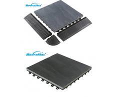 BodenMax LLSLA001-BLK-5 Pizarra Clásica 30x30cm Click Baldosa Set 30 cm x 30 cm baldosa para la terraza y balcón placas de pizarra baldosa de encajar color negro(8 piezas)
