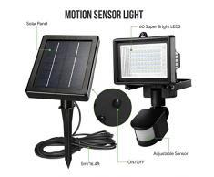 LE Luz solar, foco con sensor de movimiento, resistente al agua, 60 LED de alta potencia, luz de seguridad, luz para paredes, panel solar