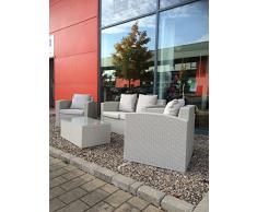 4 piezas gris mimbre al aire libre muebles de jardín con mesa