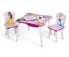 Delta Kids - Mesa infantil (con bolsillo central de tela, madera, 60 x 60 cm, con 2 sillas) PRINCESS