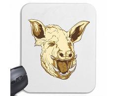 """Mousepad alfombrilla de ratón """"Wildsau cerdo de cerdo cerdo barbacoa Glücksschwein domésticos PIG BOAR COCHINILLOS"""" para su portátil, ordenador portátil o PC de Internet .. (con Windows Linux, etc.) en White"""