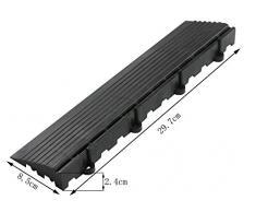 BodenMax Cement Mosaic Click - Juego de baldosas para suelo, 30 x 30 cm, terraza, baldosa, terraza, baldosas, azulejo, baldosas, negro, (Side Panel, recto, con, bucle, (14 piezas))