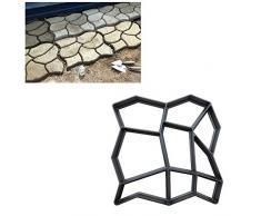 1pc DIY Walk Fabricante del escalonamiento de Piedra concreto del Molde con 9 cuadrículas Reutilizable Patio Camino del Fabricante del Molde del césped del jardín Loseta Moho Negro