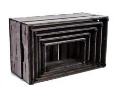 "Caja de madera conjunto de 5 gris ""Garden"" Vintage como caja para vino botellero estante cesta decorativa caja de madera"