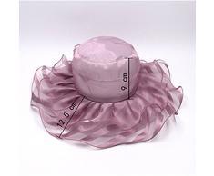 BIGBOBA Verano Sombrero Organza Sombrero Mujer Outdoor Playa Sombrero Seaside sombrilla England Sombrero Plegable, 56 – 58 cm, G, 56-58 cm