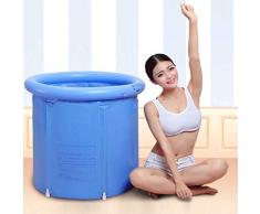 GLokpp Bañera de plástico portátil Tinas inflables Tinas de baño de PVC Tina de remojo portátil SPA Inflable for baño de Adultos con Bomba de Aire Tina Caliente Inflable Azul Grande (Color : A)