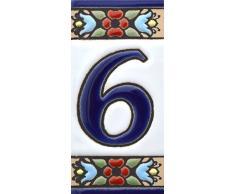 """Números casa. Letreros con numeros y letras en azulejo de ceramica policromada, pintados a mano en técnica cuerda seca para placas con nombres, direcciones y señaléctica. Texto personalizable. Diseño FLORES MINI 7,3 cm x 3,5 cm. (NUMERO SEIS """"6"""")"""