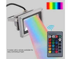 Proyector LED Iluminación,RGB Lanzamiento Impermeable Al Aire Libre LED Inundación Césped Monocromo Lámpara de Jardín de Luz de Fundición Blanca con Control Remoto