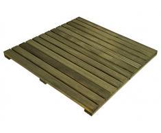 Loseta rígida en madera de Pino Melix con tratamiento Lasur Verde (Riesgo III), lamas lijadas y cepilladas - Suelo exterior (Pack de 1 unidad)