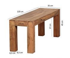 De madera de acacia maciza Wohnling comedor banco de madera 120 x 35 cm