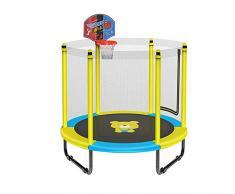 LSYOA Fitness Cama elástica Infantil, Interior/Exterior Trampolín de Jardín con Soporte de Baloncesto y Red de Seguridad Rebounder Trampolín de Carga 250kg,Yellow