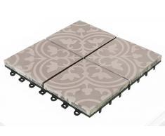 BodenMax Cement Mosaic Click Baldosas de suelo Juego 30 x 30 cm Terraza Baldosa Terraza Baldosa Baldosa gris blanco Click Tiles (8 piezas = 0.72 SQM aprox.)