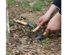 Cdet Mini pala rake jardín planta conjunto de herramientas con mango de madera herramientas de jardinería mini conjunto