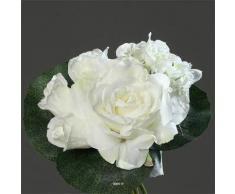 Artificiales - Ramo Creme Varie de rosas y peonías con hojas TOP H 25 cm - choisissez votre, colores: crema