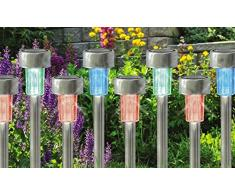 10 x vanz shop cambia de color reloj SOLAR de acero inoxidable de jardín luces LED Lámparas recargable