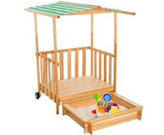 TecTake Arenero con techo para niños Veranda Madera Protección contra el Sol - disponible en diferentes colores - (Verde   No. 400914)