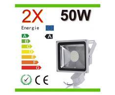 Mcitymall® 2x 50W Blanco Frío SMD Proyector Proyector LED con la lámpara Jardín detector de movimiento