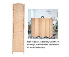 GOTOTOP Biombo Separador de 6 Paneles Separador de Espacios Plegable 170 x 240cm Divisor de Habitación de Bambú Natural y Papel Trenzado para Dormitorio, Salón y Oficina(Madera)