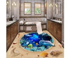 Papel pintado autoadhesivo del pvc del piso del adoquín del papel pintado del piso del cuarto de baño 3D Decoración del hogar