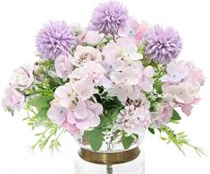Hawesome 3 piezas de mezcla de ramo de flores de seda, hortensias y rosas artificiales, novia bouquet arreglos florales en la mesa de comedor belleza boda decoración