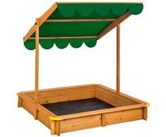 TecTake Arenero con techo regulable cajón de arena jardín juego para niños madera - disponible en diferentes colores - (Verde   No. 402222)