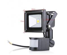 Foco Luz LED,10W Sensor de movimiento con Luz inalámbrico para Exteriores incluyendo Patio, Hall, Jardín, Porche y Garaje, Luz eléctrica solar Foco Luz LED, Sensor de movimiento con Luz inalámbrico para Exteriores incluyendo