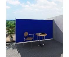 vidaXL Toldo Lateral Retráctil Poste de Acero Azul 180x300 cm Mampara Terraza