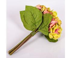 Decorativo ramo KLARA de hortensias, verde-rosa, 30 cm, Ø 18 cm - Flor sintética / Planta artificial - artplants