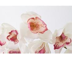 Rama de orquídea Cymbidium artificial, aspecto natural, blanco-fucsia, 80 cm - Ramificación decorativa / Tallo sintético - artplants