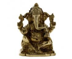 Decoración Hindú Ganesha Escultura Arte Metal De Estatuilla De Bronce De Postura Sentada 15,24 Cm