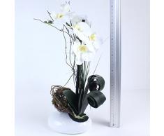 Orquídea artificial en phalaenopsis cerámica 38 cm blanco