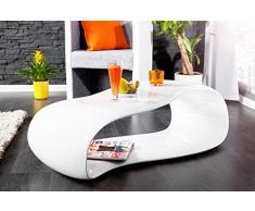 DuNord Design - Mesa sofá Mesa Gravity Color Blanco 110 cm Brillante Modern Fibra de Vidrio Design Lounge Mesa