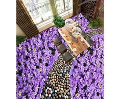 ADDFLOWER Personalizado cualquier tamaño Mural 3D del papel pintado Mural del papel pintado del interior 3D del piso del adoquín de la flor linda, 430X300 cm (169.3 por 118.1 pulg.)