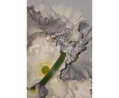 Diseño con forma de corona gris marfiles y vestido de dama de honor Gerbera diseño de ramo de w/diseño de mariposa con cristales