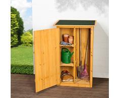 TecTake Caseta de exterior Armario de madera de jardín para herramientas cobertizo con tejado plano | 75 x 56 x 118 cm