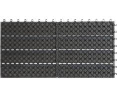 Gartenfreude EVERFLOOR WPC Marca (Madera/Mezcla de plástico) baldosas de Patio Perfil Macizo Gris Oscuro, 6 Piezas, 60 x 30 cm (Aprox. 1,08m2)