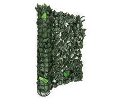 Blumfeldt Fency Dark Ivy valla de protección visual y anti viento (Malla sombreo 300x150 cm, cubierta exterior sombreadora, pantalla privacidad balcón terraza jardín, decoración imitación hojas seto arbusto verde)