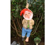 JS GartenDeko - Figura decorativa de enano ahorcado (altura 40 cm)