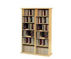 """VCM Torre para CD/DVD para """"Ronul"""" haya, 300 CDs, sin puerta de cristal."""