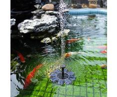 Fossrn Solares Fuentes Decorativas Jardin,Fuente Solar de la Fuente de Agua de la Bomba de la Fuente de Agua del ba/ño del p/ájaro accionada al Aire Libre para el Acuario del jard/ín de la Piscina